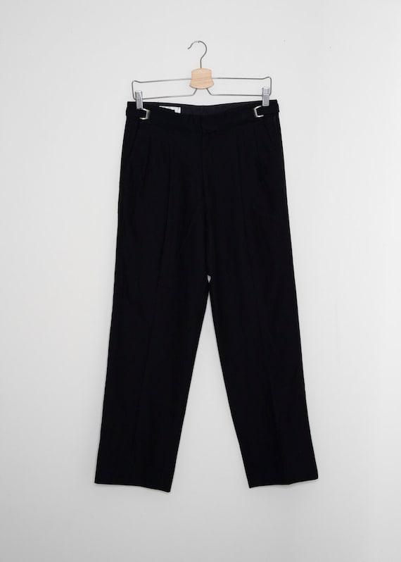 Sandra Vintage Black Pinstripe Tuxedo Trousers