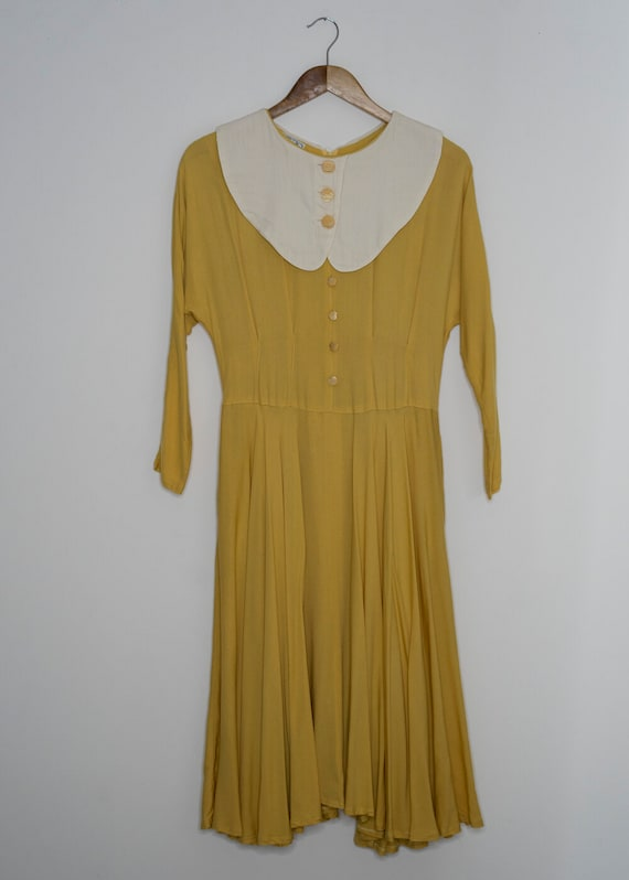 Charlotte Vintage Yellow Peter Pan Collar Dress