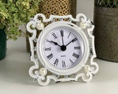 Small Antique French Vintage Style White Metal Mantel Clock Standing Table Top Freestanding Ladies Clock Bedside Clock Shabby Chic