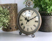 Small Antique French Vintage Style Gold Metal Mantel Clock Standing Table Top Freestanding Ladies Clock Bedside Clock Shabby Chic
