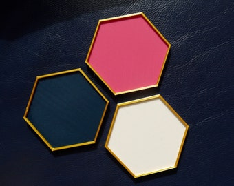 ANY COLOUR Geometric Hexagon Coasters - Gold Edged - Luxury - Plant based - 3D Printed - Homeware - Organisation - Eco Friendly - Home gift