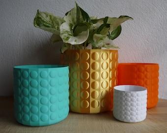 Bubble Textured Plant Pots - Plant based plastic - Eco - Metallic - 3D Printed - Planter - Present - 12cm - 18cm