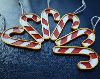 Candy Cane Christmas Decorations - Traditional Decor - Tree - Gold - 3D Printed - Plant - Eco Friendly - Simple - Colour - Hanging Ornaments