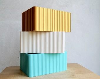 ANY COLOUR Minimalist Corrugated Texture Storage box - Desk  - Plant based - 3D Printed - Homeware - Organisation - Eco Friendly - Geometric
