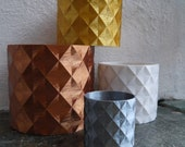 Geometric Diamond Pattern Plant Pot - SEVERAL COLOURS - 3D Printed - Planter - Hanging Planter - Gift - Present - 12cm, 9cm, and 5cm Pots