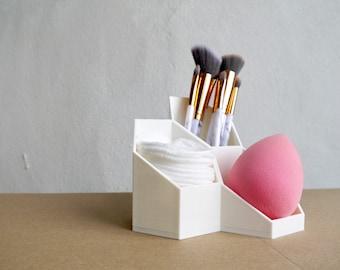 ANY COLOUR Geometric Hexagon Makeup Organiser - Beauty Blender - Makeup brushes  - Plant based - 3D Printed - Homeware - Organisation - Eco