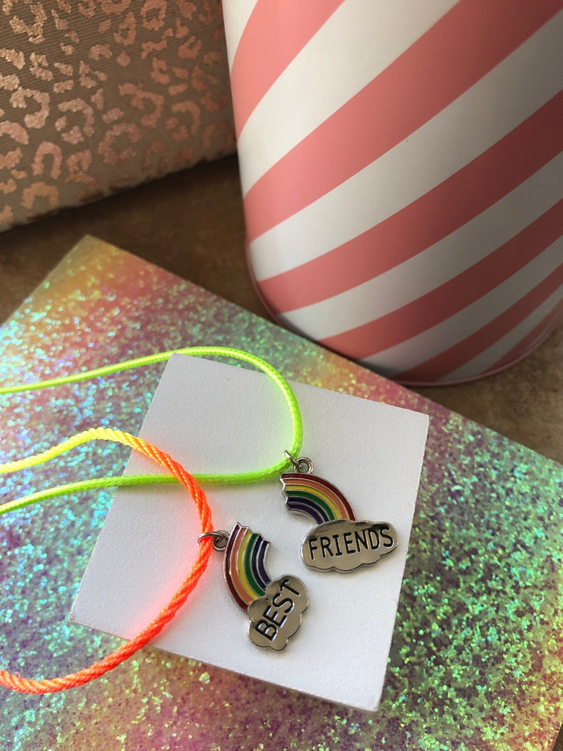 Best friend necklace Lockdown gift Rainbow best friend necklace Stocking filler BFF gifts Little girls gift. Care gift