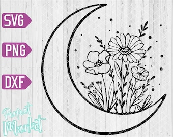 Floral Moon svg,Floral decoration,Boho Svg,Crescent Moon Svg,Moon Flowers Shirt,Moon Flowers files for cricut,Moon Flowers Clipart
