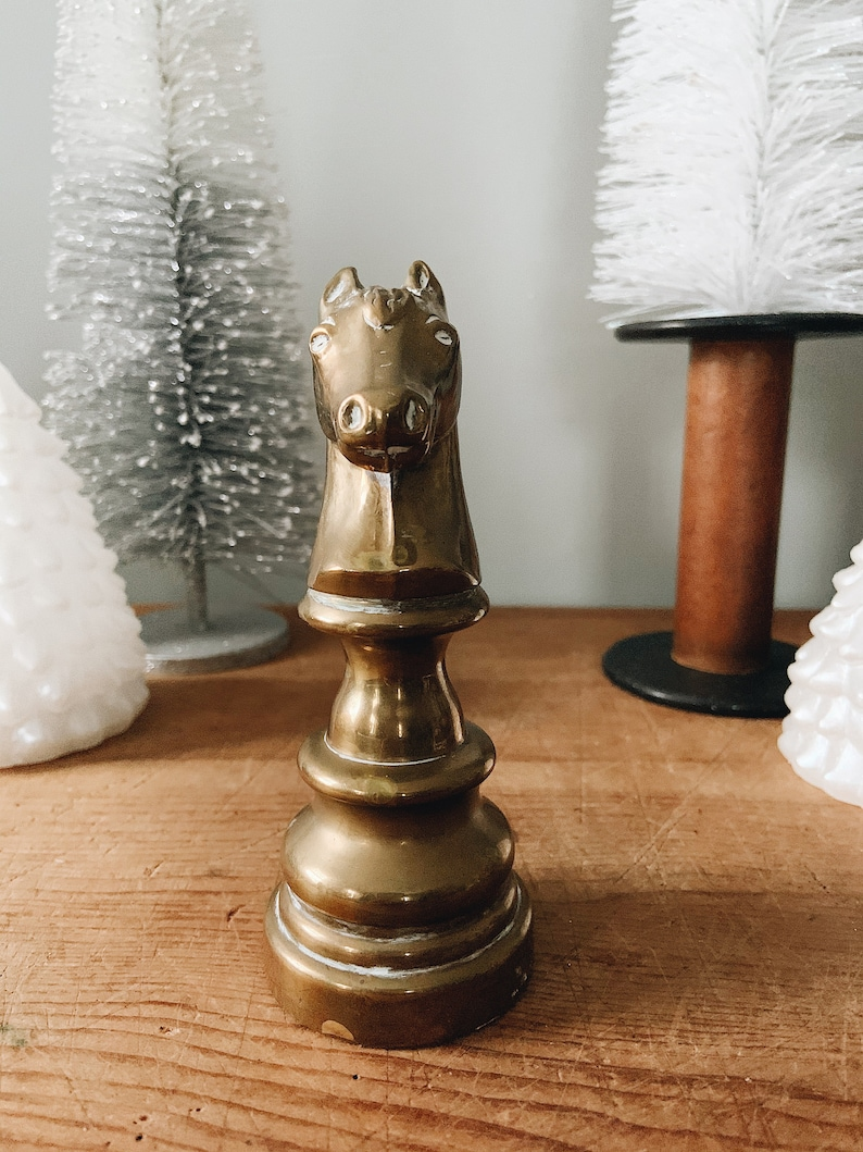 Vintage Chess Knight Horse Desk Accessory Vintage Collectable Brass Decor Paper Weight Vintage Brass Chess Figurine Vintage Brass Knight