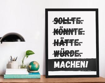 Poster: Make! (white), b/w
