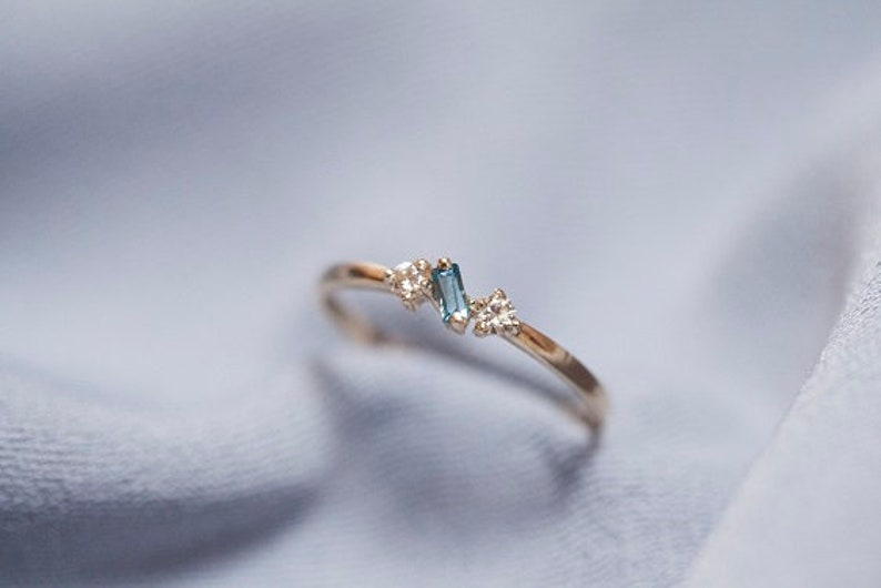 Baguette London Blue Topaz and Brilliant Yellow Multi-Stone Ring