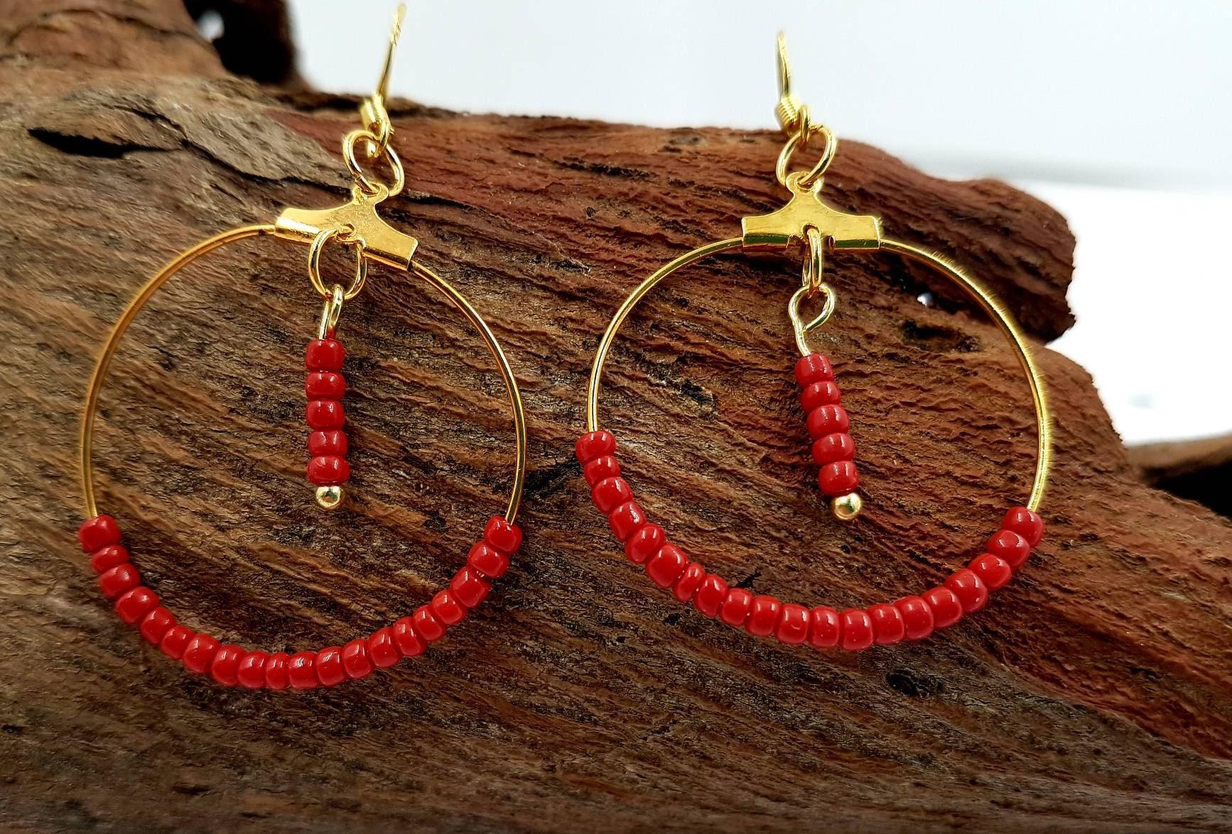 Red Coral Earrings Dangle Statement Bridesmaid Jewelry Gift Beachy Earrings Dainty Long Bar Earrings Summer Threaders