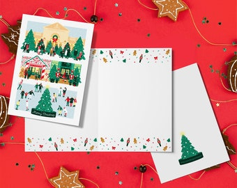 20 x A6 London Christmas cards with red/green envelopes, Covent Garden, Liberty's, Nutcracker, ice skating, Winter Wonderland, Decorations