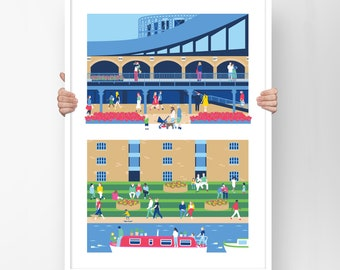 Kings Cross London print, Granary Square, Best friend gift, Regent's Canal poster, Gift for her, London art, Housewarming gift, A2 or A3