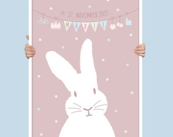 Personalized Münster baby poster with bunnies, Münster landmark, baby first name and date of birth, Münster baby gift, Nursery Decor