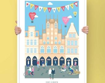 Das personalisierte Münster Poster zum Hochzeitstag und passend zu Eurer Lovestory – für Paare, Familien mit 3, 4, 5 oder mehr Mitgliedern