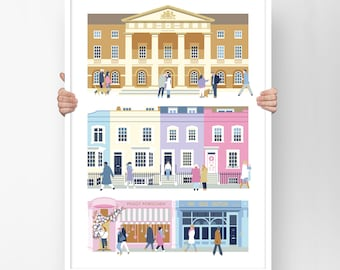 Chelsea and Kensington Print London, Kensington London, SW1, Chelsea London wall art, London gifts, Leaving gift, Chelsea print, A3 or A2