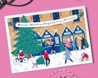 10 x A6 Münster Christmas cards with envelopes in five colours to choose from, Lambertikirche, Lichtermarkt, Weihnachtsgrüße aus Münster