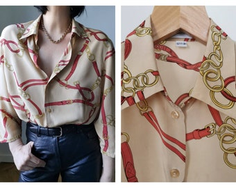 Silk vintage Agenda blouse boho retro look short sleeve vintage top made in italy 80s blouse rare vintage lacky four leaf clover patterm sil