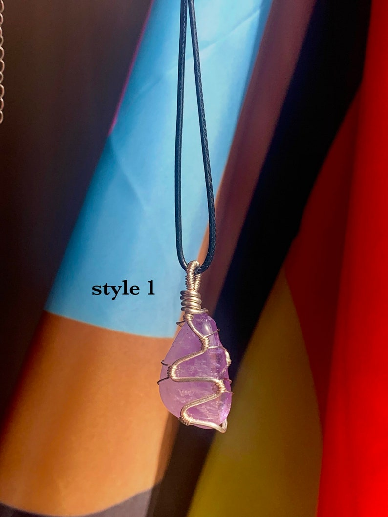 Amethyst wrapped crystal necklace