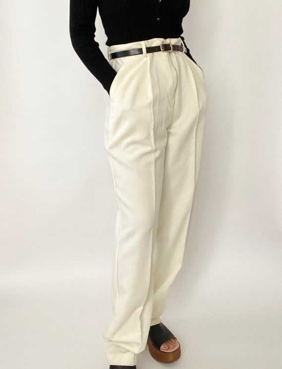 Vintage 90s Cream High-Waisted Trousers