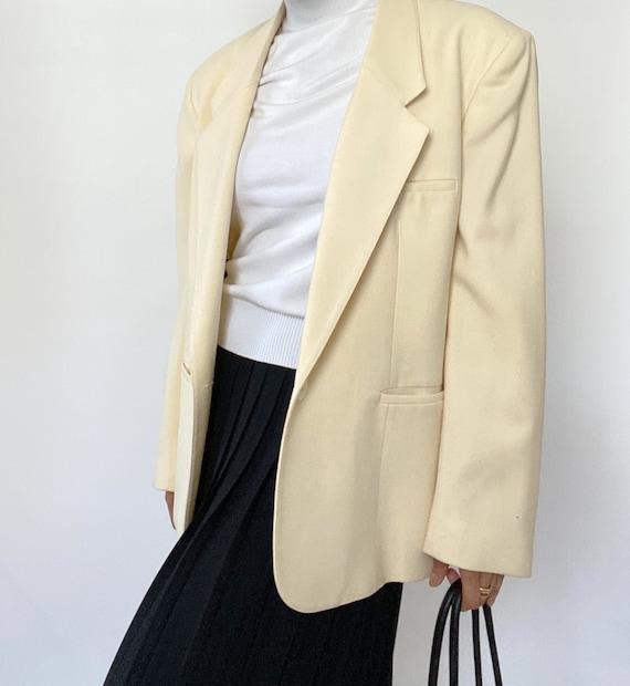 Vintage '90s Oversized Cream Minimal Blazer