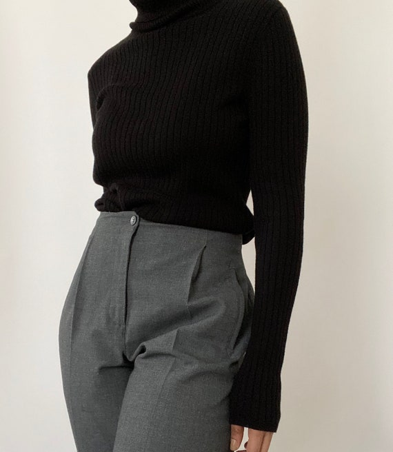 Vintage 90s Grey High-waisted Trousers
