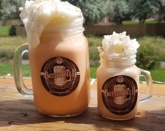 Butterscotch Beer inspired candles - available in 4 oz and 16 oz Mason jar mugs