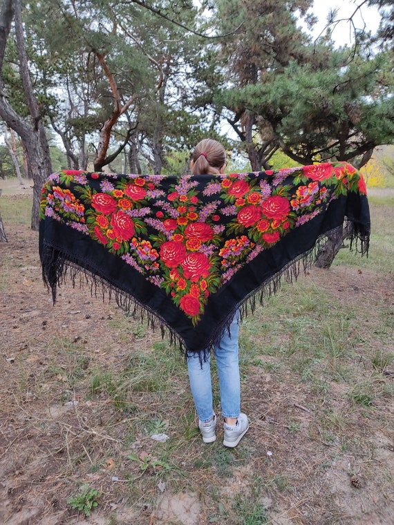 Old Black Shawl with Flowers. 153cm * 150cm. Large