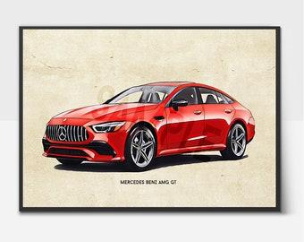 Digital File Car Artwork Mercedes Benz AMG GT Sketch Printable Wall Art Great Gifts for Car Lover Print Download