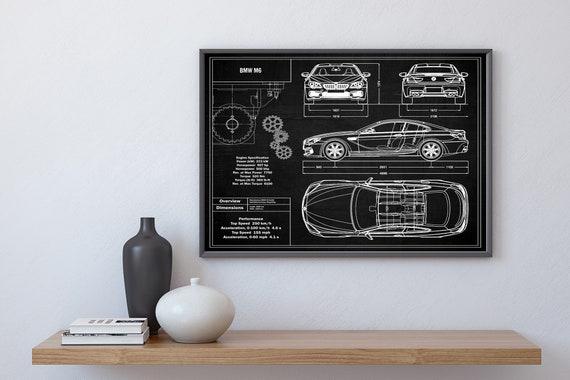Digital File Gallery Car Lover Gift For Him Printable Artwork High Quality Prints BMW 5 Series Blueprint Wall Art Print Download