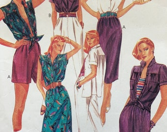 1980s McCall's 7039 Misses' blouse, Skirt, Pants or Shorts, 80s Summer Ensemble Size 12 Bust 34 Vintage Sewing Pattern
