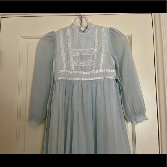 70s Vintage Gunne Sax Blue Midi Prairie Dress - image 2