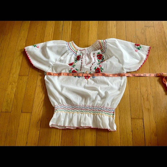 Vintage Hungarian Embroidered Peasant Blouse - image 8