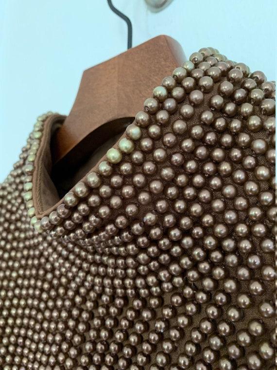 VIE Victoria Royal Vintage Mock Neck Beaded Top