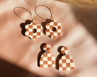Brown and Tan Checkerboard Polymer Clay Dangle Earrings