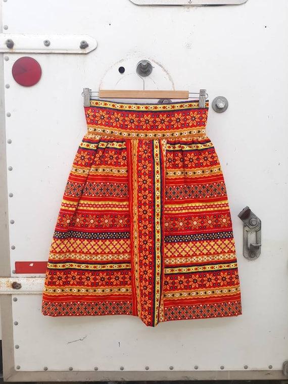 Vintage Lanz Original Quilted Mini Skirt 1960s 19… - image 1