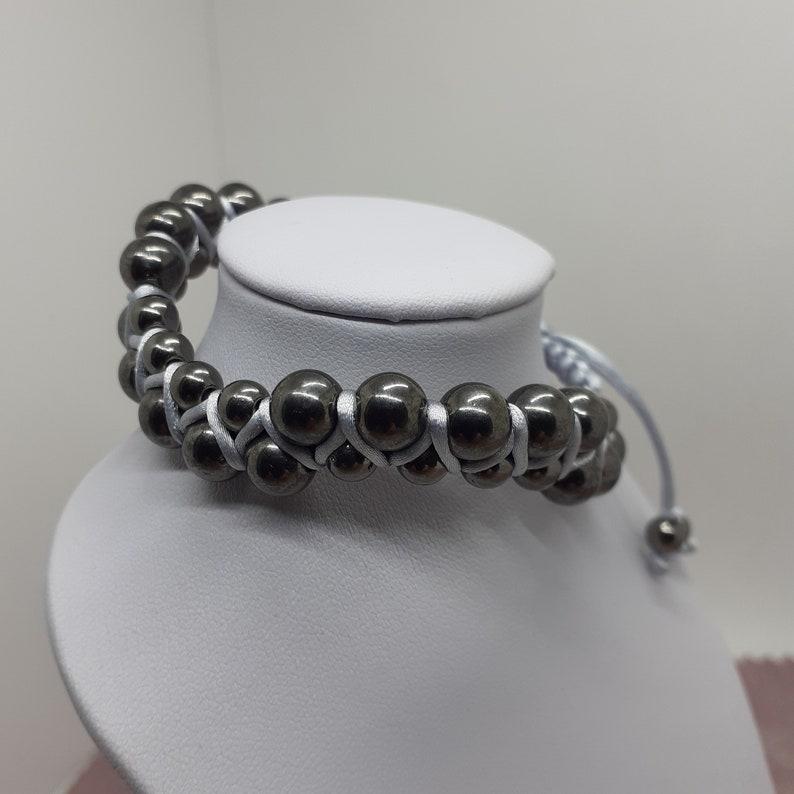 Snaky Göttin Armband Handmade Makramee Armband schwarze Perlen Silber Schnur