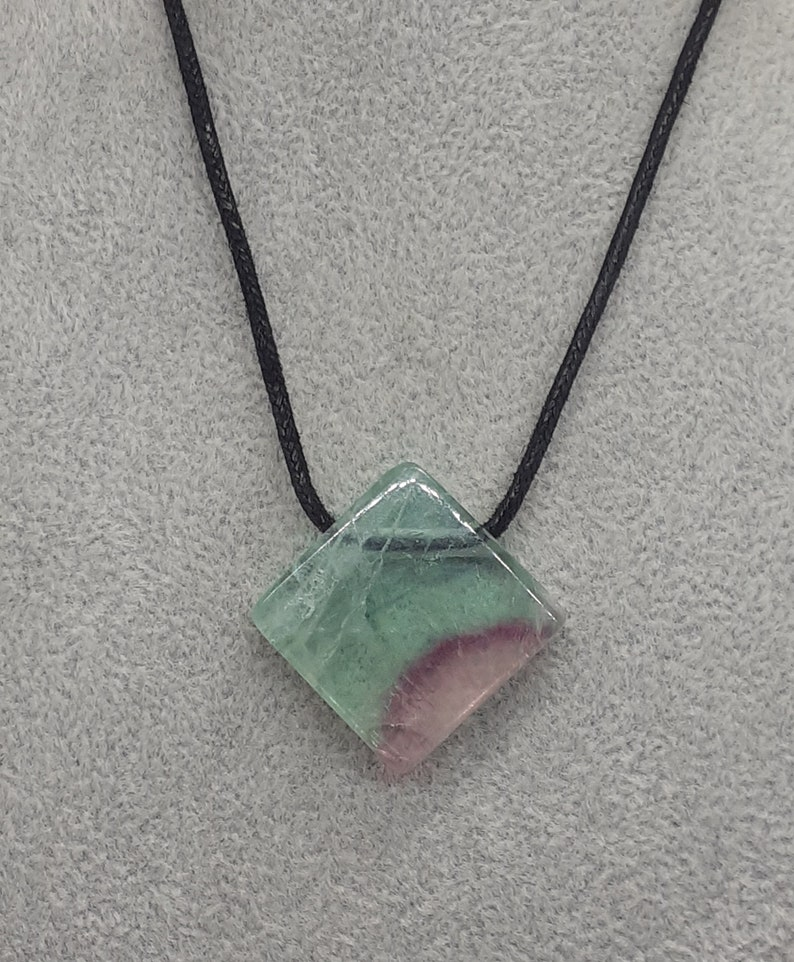 Perfect gift for yourself a friend or a Loved one A Grade Black Cord-cleanses and stabilises the aura Rainbow Fluorite Pendant