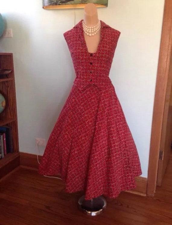 1950s Corduroy Atomic Fleck Print Skirt & Top Set