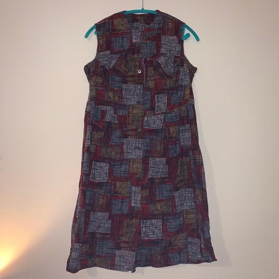 1950s 1960s Atomic Print Day Dress Volup