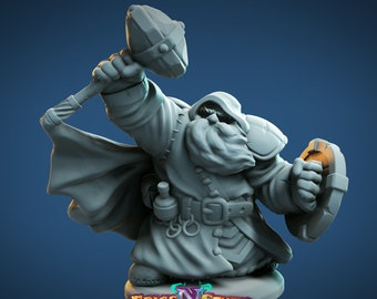 Dwarf Cleric Miniature, High Quality Tabletop RPG 3D Printed (Dungeons and Dragons, Pathfinder and Warhammer)