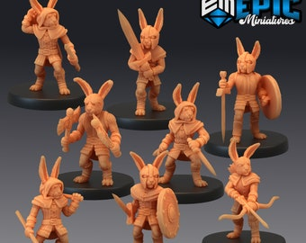 Bunnyfolk Miniature, High Quality Tabletop RPG 3D Printed (Dungeons and Dragons, Pathfinder and Warhammer)