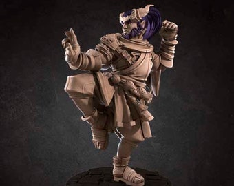 Tiefling Monk Miniature, High Quality 28mm 32mm Tabletop RPG 3D Printed (Dungeons and Dragons, Pathfinder and Warhammer)