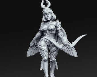 Mina, Demon Archer Miniature, High Quality Tabletop RPG 3D Printed (Dungeons and Dragons, Pathfinder and Warhammer)