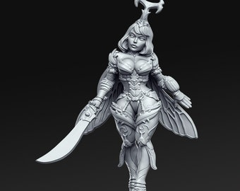 Nina, Demon Slayer Miniature, High Quality Tabletop RPG 3D Printed (Dungeons and Dragons, Pathfinder and Warhammer)