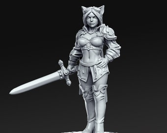 Ambar, the Warrior Miniature, High Quality Tabletop RPG 3D Printed (Dungeons and Dragons, Pathfinder and Warhammer)