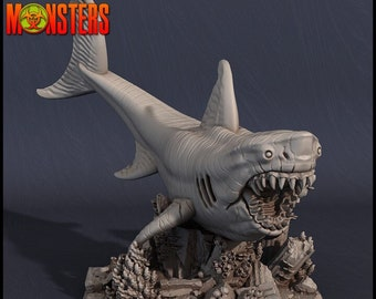 Great White Shark Miniature, High Quality Tabletop RPG 3D Printed, Great for Dungeons and Dragons, Pathfinder and Warhammer
