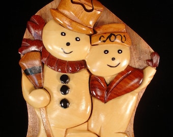 Beautifully hand crafted 3 dimensional Intarsia Wood Art SNOWMAN and WOMAN Puzzle Wooden Box