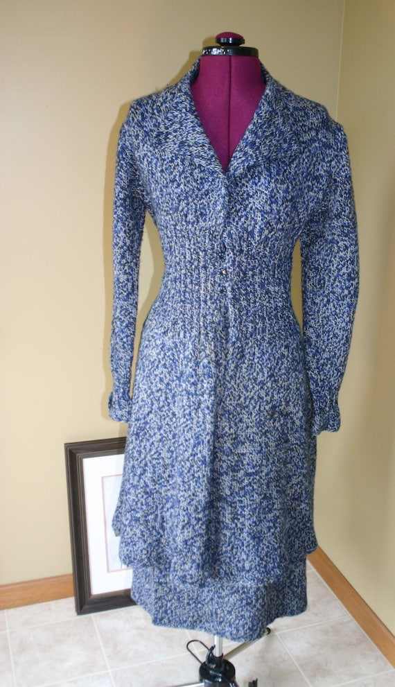 Vintage 70s hand knit wool skirt suit combo - long